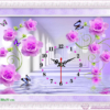 Tranh đính đá LV010 Đồng hồ hoa hồng tím 80x50