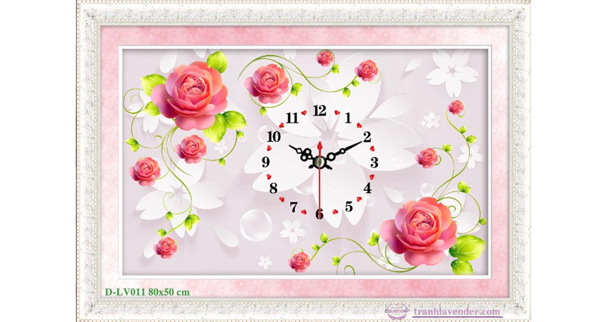 Tranh đính đá LV011 Đồng hồ hoa hồng nhung 80x53