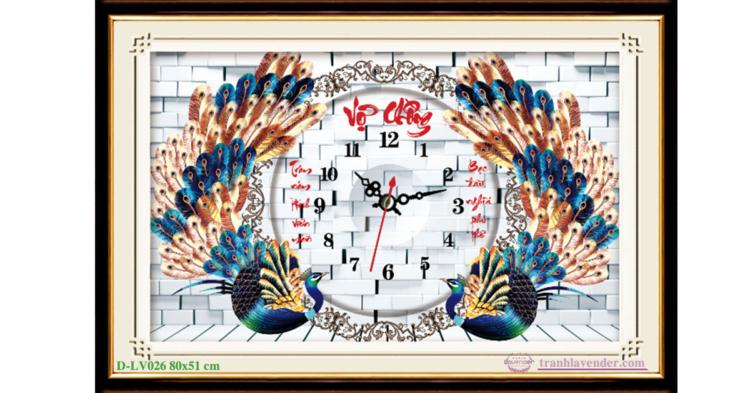 Tranh đính đá LV026 Đồng hồ Vợ Chồng 80x51