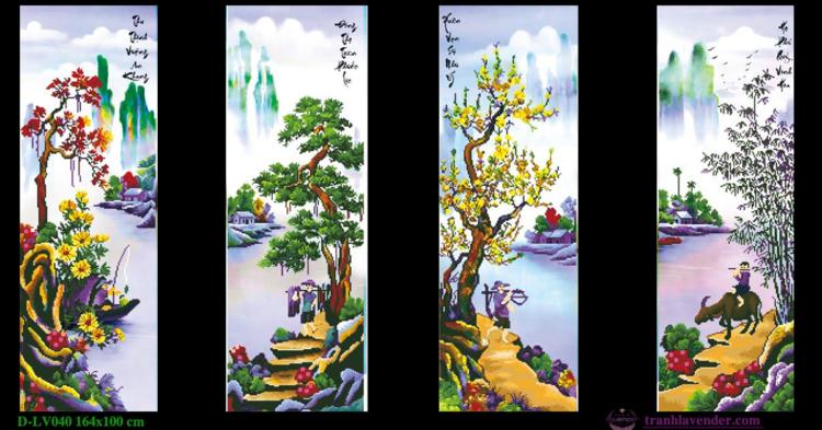 Tranh đính đá LV040 Tứ quý Xuân Hạ Thu Đông 164x100