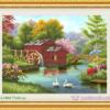 Tranh đính đá LV044 Ngôi nhà hạnh phúc 77x60