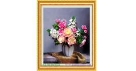 Tranh đính đá LV068 Lọ hoa hồng đẹp 60x70