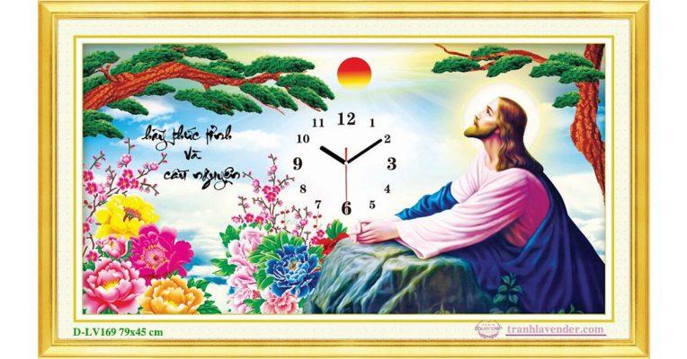 Tranh đính đá LV169 Đồng hồ chúa Giê su 79x45