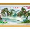 Tranh đính đá LV188 Lưu thủy sinh tài 150x80