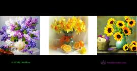 Tranh đính đá LV195 Bình hoa khoe sắc 148x50
