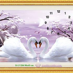 Tranh đính đá LV204 Đồng hồ Uyên ương hạnh phúc 90x45