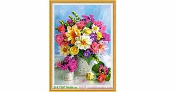 Tranh đính đá LV207 Bình hoa khoe sắc 50x68