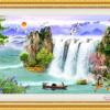 Tranh đính đá LV208 Lưu thủy sinh tài 104x50
