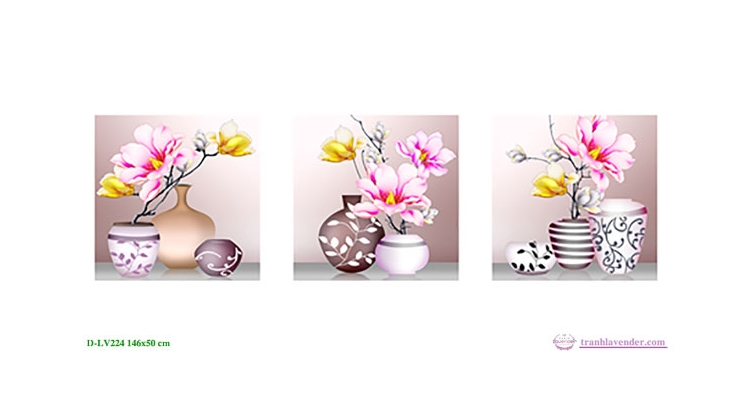 Tranh đính đá LV224 Bình hoa nghệ thuật 146x50