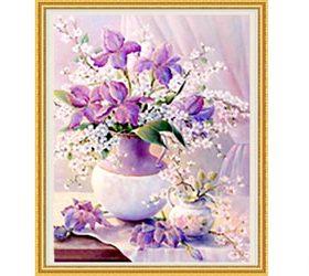 Tranh đính đá LV225 Bình hoa khoe sắc 50x60