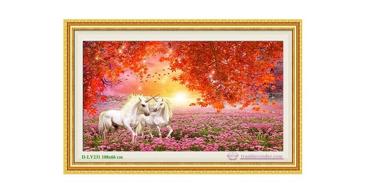 Tranh đính đá LV231 Vườn hạnh phúc 108x66