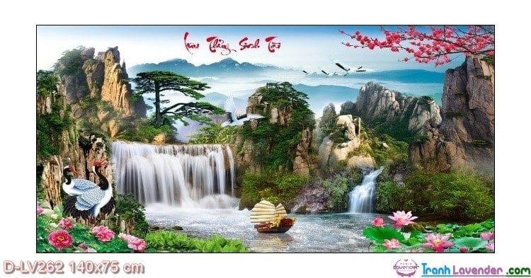Tranh đính đá Lưu thủy sinh tài LV262 Lavender 140x75