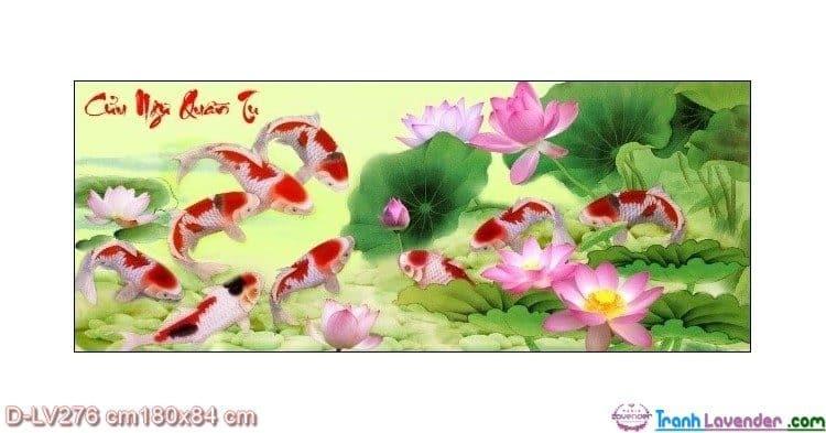 Tranh đính đá Cửu ngư quần hội LV276 Lavender 180x84