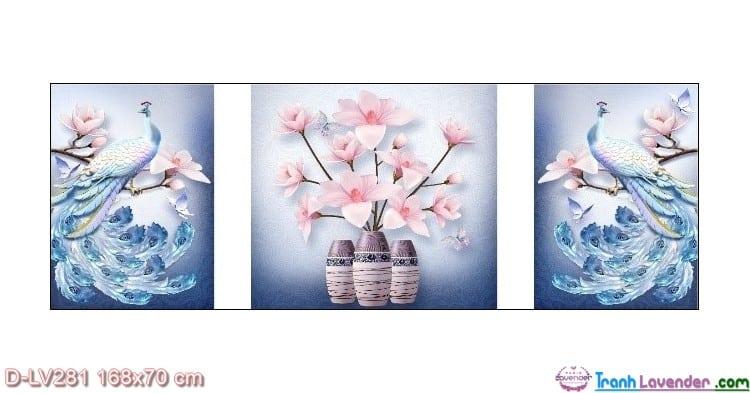 Tranh đính đá Hoa khai phú quý LV281 Lavender 168x70`