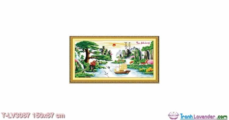LV3067 Tranh thêu chữ thập Thuận buồm xuôi gió Lavender 150x67 cm