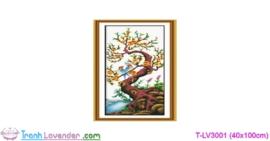 [T-LV3001] Tranh thêu chữ thập Tứ Quý Xuân-Hạ-Thu-Đông (kích thước nhỏ 40x100cm)