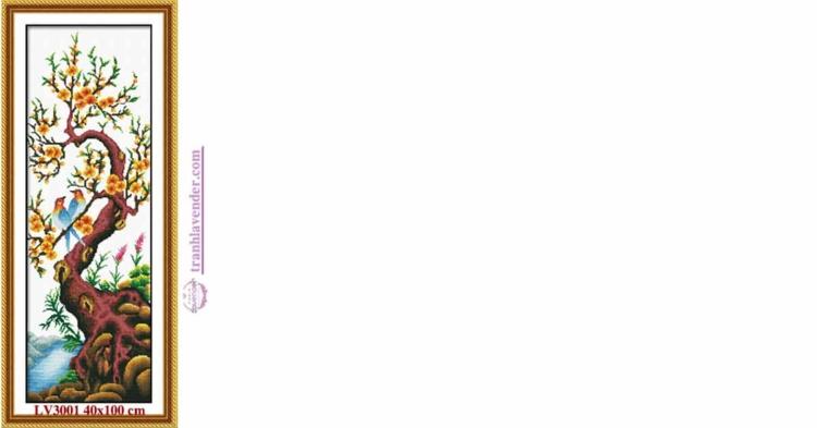 Tranh thêu chữ thập Lavender LV3001 Tứ quý Xuân Hạ Thu ĐôngTứ quý Xuân Hạ Thu Đông - hoa Mai 40x100 cm 40x100