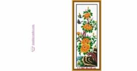 Tranh thêu chữ thập Lavender LV3003 Tứ quý Xuân Hạ Thu Đông - Cây hoa Cúc 40x100 cm