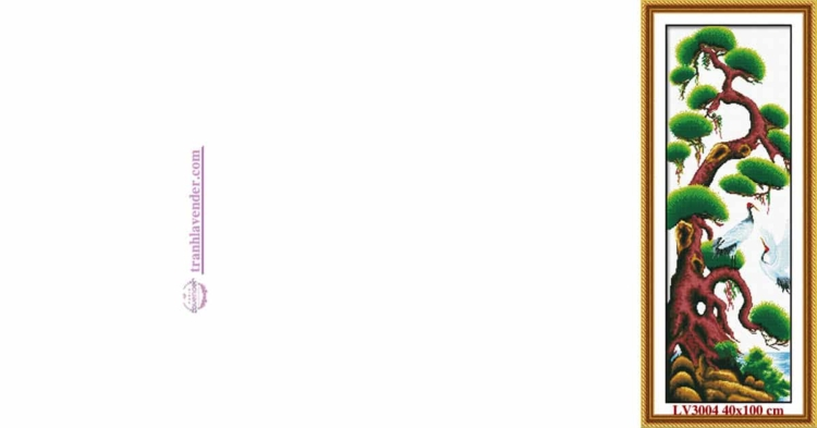 Tranh thêu chữ thập Lavender LV3004 Tứ quý Xuân Hạ Thu Đông - Cây Tùng 40x100