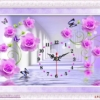 Tranh thêu chữ thập Lavender LV3009 Đồng hồ hoa hồng màu tím 67x43