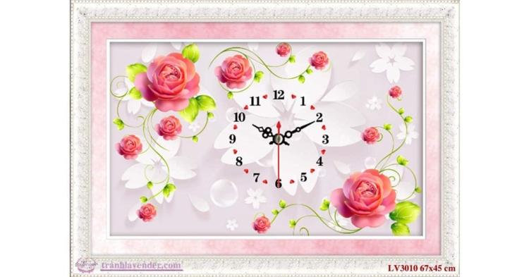 Tranh thêu chữ thập Lavender LV3010 Đồng hồ hoa hồng màu hồng 67x45