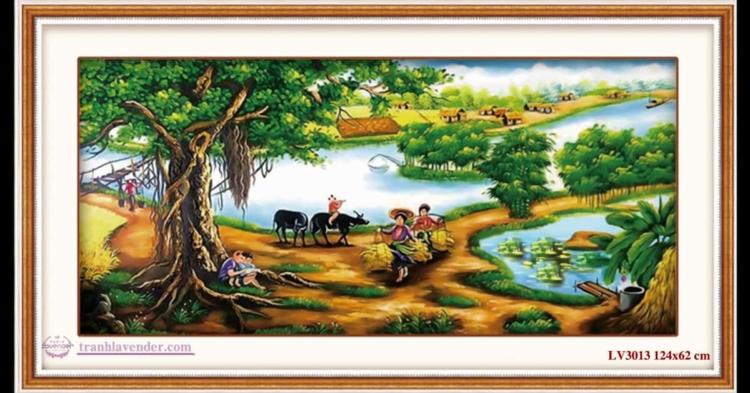 Tranh thêu chữ thập Lavender LV3013 Cây đa đầu làng 124x62