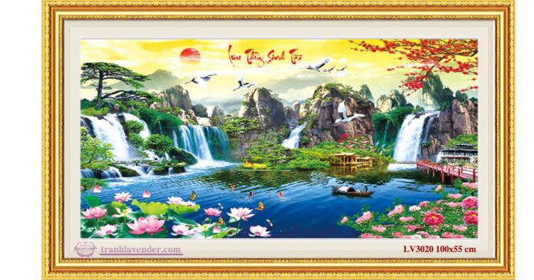 Tranh thêu chữ thập Lavender LV3020 Lưu thủy sinh tài (kín) 100x55