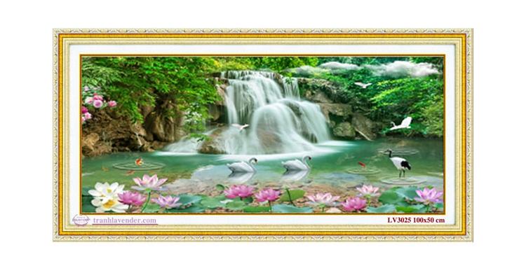 Tranh thêu chữ thập Lavender LV3025 Non nước hữu tình 100x50