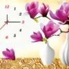 Tranh thêu chữ thập Lavender LV3040 Đồng hồ hoa ngọc lan tím 58x43