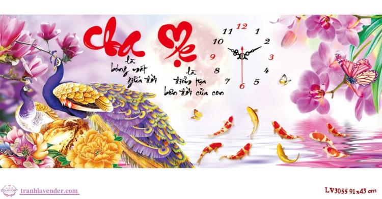 Tranh thêu chữ thập Lavender LV3055 Đồng hồ Cha mẹ 91x43