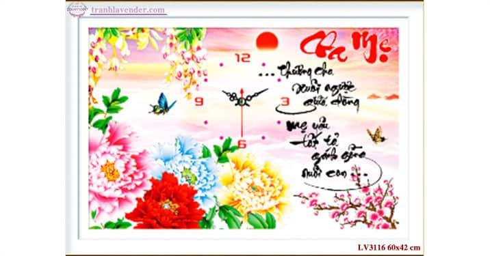 Tranh thêu chữ thập Lavender LV3116 Đồng hồ Cha mẹ 60x42