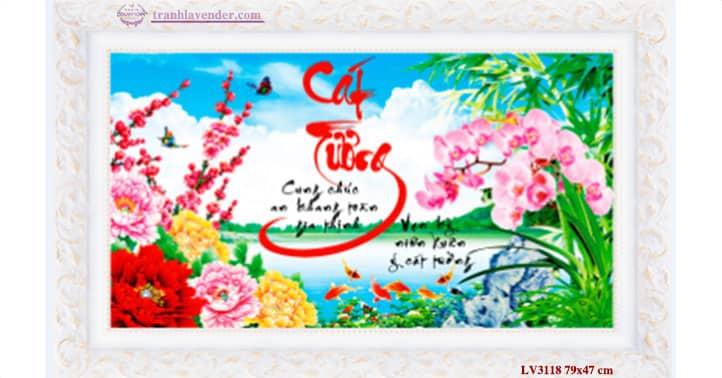 Tranh thêu chữ thập Lavender LV3118 Cát tường 79x47