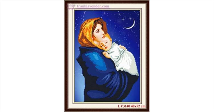 Tranh thêu chữ thập Lavender LV3140 Đức mẹ Maria bồng con 40x52