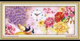 Tranh thêu chữ thập Lavender LV3161 Đồng hồ phu thê viên mãn 88x38