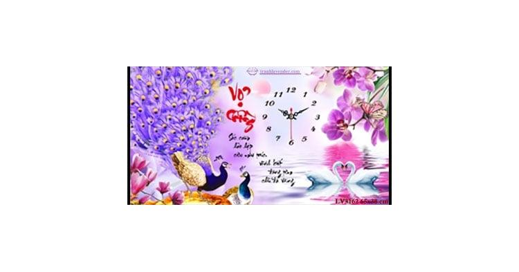 Tranh thêu chữ thập Lavender LV3162 Đồng hồ Vợ chồng 65x38