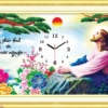 Tranh thêu chữ thập Lavender LV3169 Đồng hồ chúa Giê su 66x38