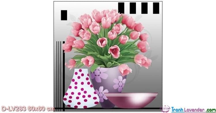 Tranh đính đá Hoa Tulip hồng LV283 Lavender 60x60