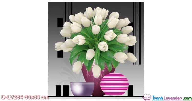 Tranh đính đá Hoa Tulip trắng LV284 Lavender 60x60