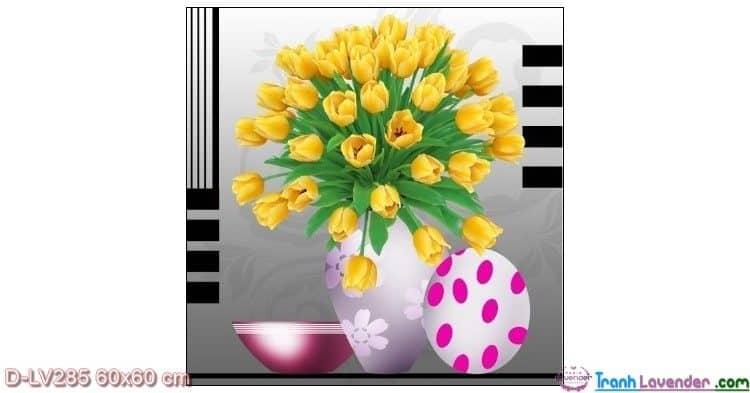 Tranh đính đá Hoa Tulip vàng LV285 Lavender 60x60