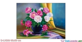 Tranh đính đá Hoa bên cửa sổ LV289 Lavender 65x50
