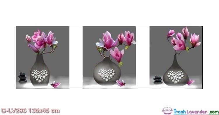 Tranh đính đá Hoa ngọc lan tím LV293 Lavender 135x45