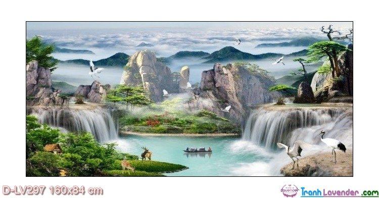 Tranh đính đá Bồng lai tiên cảnh LV297 Lavender 160x84