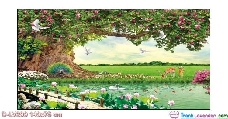 Tranh đính đá Sum họp hạnh phúc LV299 Lavender 140x75