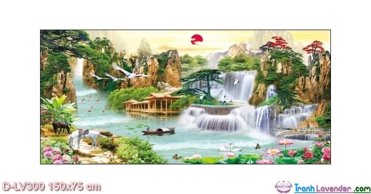 Tranh đính đá Lưu thủy sinh tài LV300 Lavender 150x75