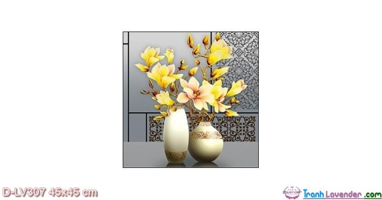 Tranh đính đá Ngọc Lan phú quý LV307 Lavender 45x45