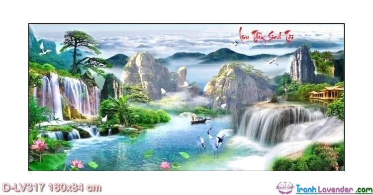 Tranh đính đá Lưu thủy sinh tài LV317 Lavender 160x84