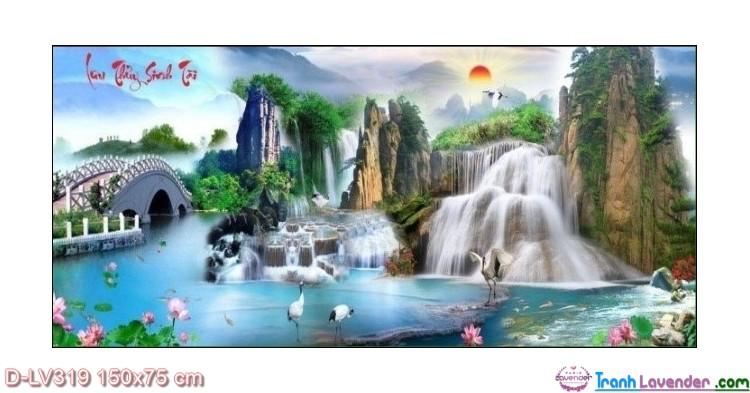 Tranh đính đá Lưu thủy sinh tài LV319 Lavender 150x75