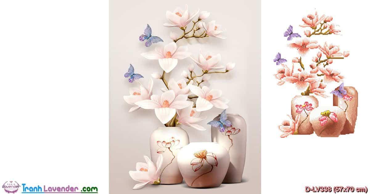 Tranh đính đá Bình hoa nghệ thuật LV338, kích thước 57x70 cm