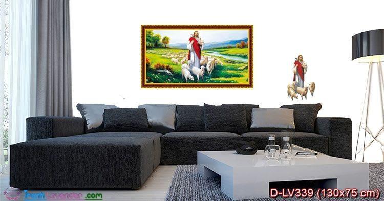 Tranh đính đá Chúa Jesu chăn Cừu LV339, kích thước 130x75 cm