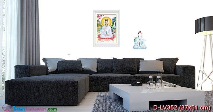 Tranh đính đá Phật bà Quan Âm LV352, kích thước 37x51 cm